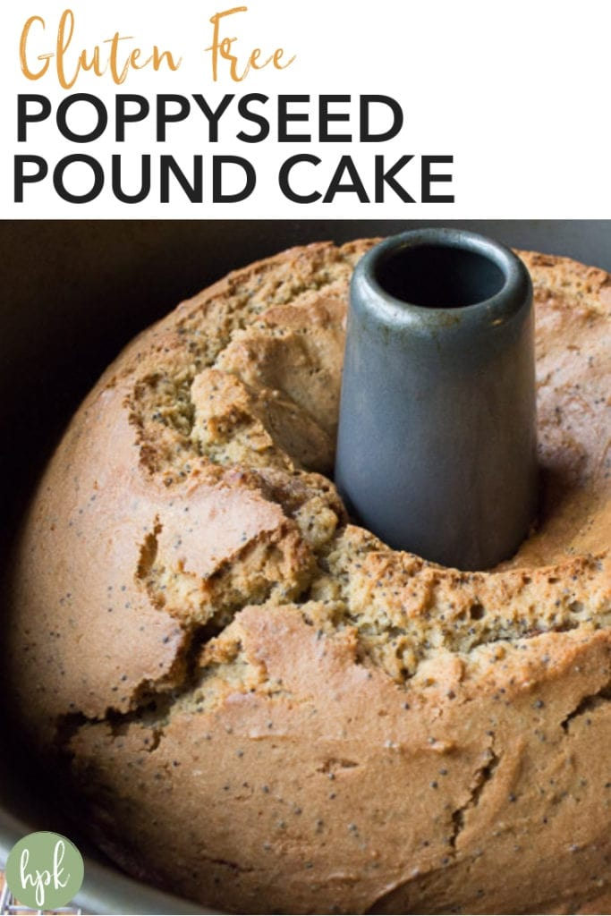 A Gluten Free Poppyseed Pound Cake recipe that's perfect for the holidays or just when you get a sweet tooth. It's a simple flavor that can stand on it own or can be eaten with a little ice cream. Keep it for you family or give it as a baked food gift! #glutenfree #cake