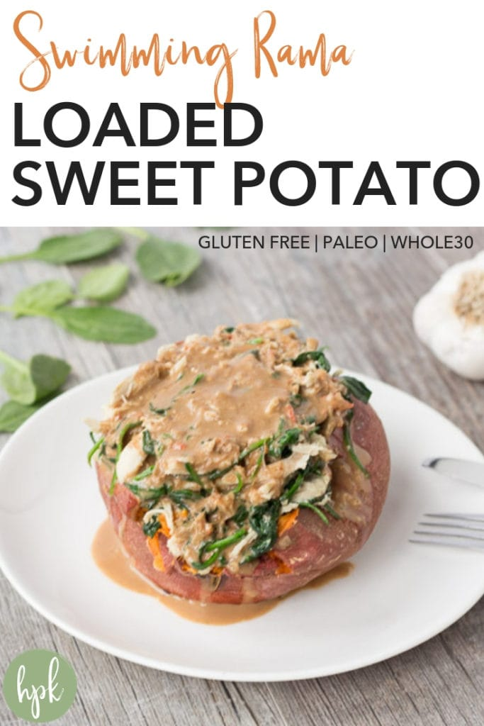 This Swimming Rama Loaded Sweet Potato recipe is a quick meal when you're running low on options. It has five main ingredients, one of which is rotisserie chicken to make things super easy. It's also paleo and Whole30, so is a healthy dinner option when you're craving Thai food. Put it on your dinner menu and see for yourself!#glutenfree #sweetpotato #thaifood #dinner