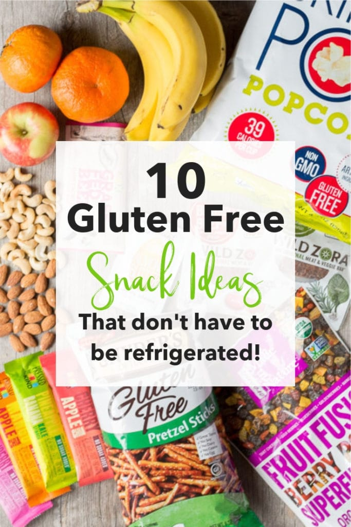 image of gluten free snacks with text