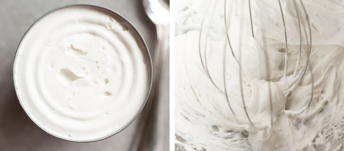 a can of hardened coconut milk on the left and a process shot of whipping coconut cream on the right