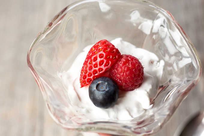 Close up of top berry garnish of Simple Summer Berry Paleo Parfait