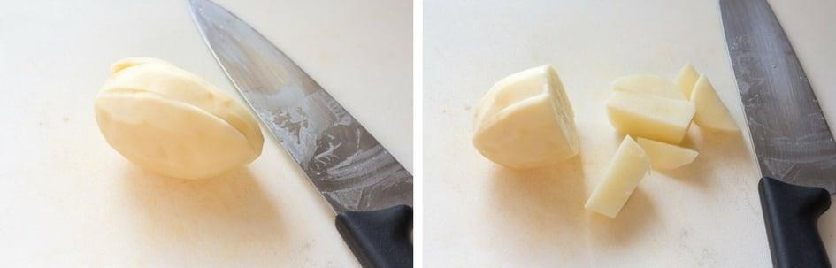 two process shots of cutting a potato on a white cutting board