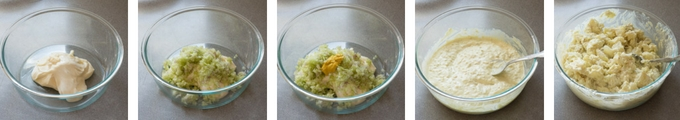 five picture process shot of dressing for potato salad