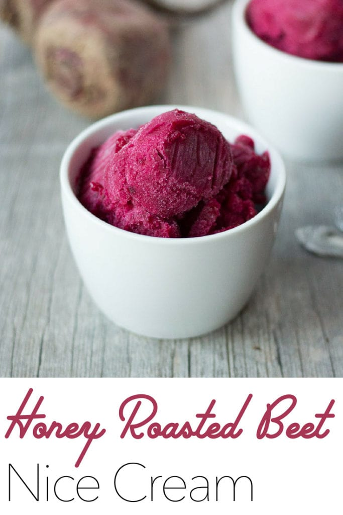 This Honey Roasted Beet Nice Creamis dairy free, vegan and uses just four ingredients.No food coloring necessary to get this gorgeous color, but it is a fun and frozen way to get vegetables in your dessert! #vegan #dessert