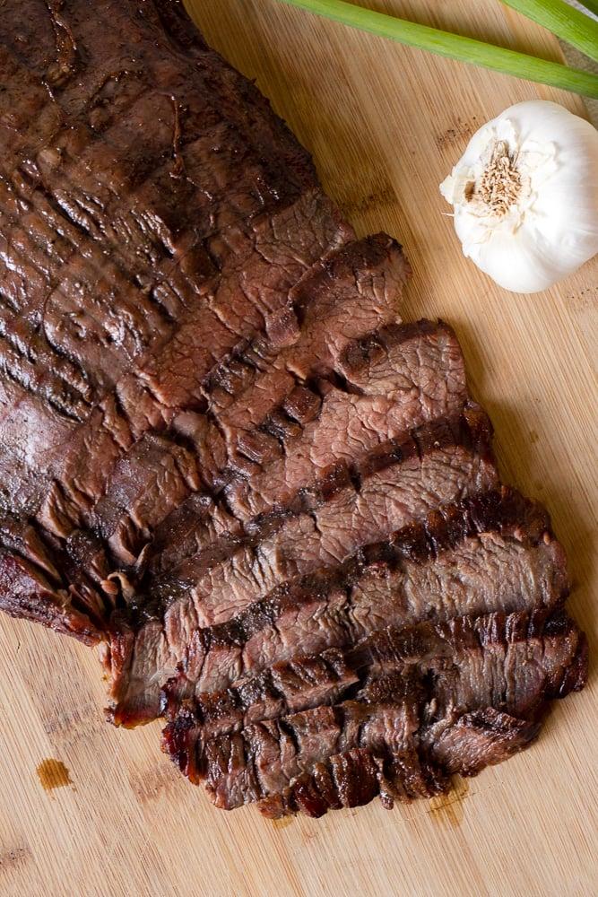 top down shot of sliced flank steak