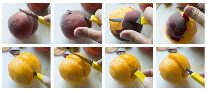 process shot of peeling and cutting peaches for gluten free blueberry peach crisp