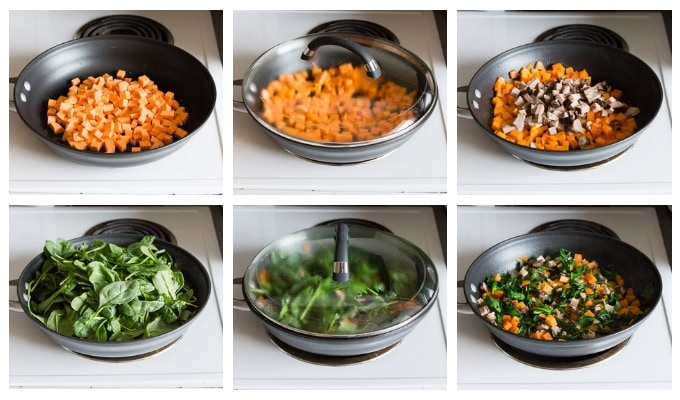 six part process shot of cooking leftover breakfast hash in a black pan on a white stove