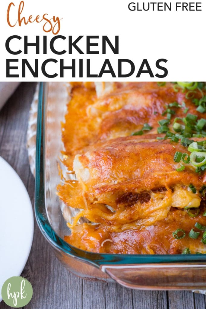 Need a simple recipe to incorporate into your weeknight dinners? These Cheesy Chicken Enchiladas are gluten free and easy to put together, using rotisserie chicken to cut down on cooking time. The filling has cooked down onion and green chilis to add a little kick of flavor but they're still mild enough for kids. Try them out and see for yourself! #enchiladas #glutenfree #easy #weeknightdinners