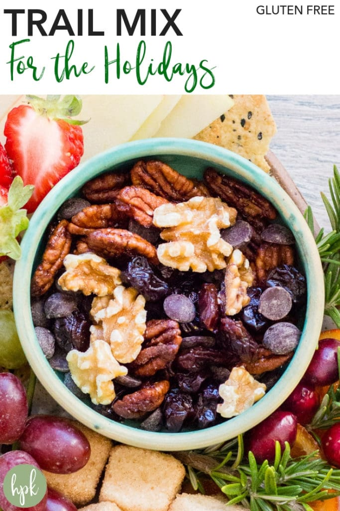 pin for gluten free holiday trail mix