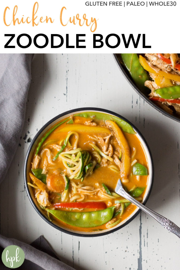 This Chicken Curry Zoodle Bowl has a ton of veggies to pack a punch for your dinner. It's a healthy recipe that's gluten free, paleo, and Whole30 compliant. It uses zucchini to replace regular pasta so you get some great thai flavor without as many carbs. #glutenfree #whole30 #chicken