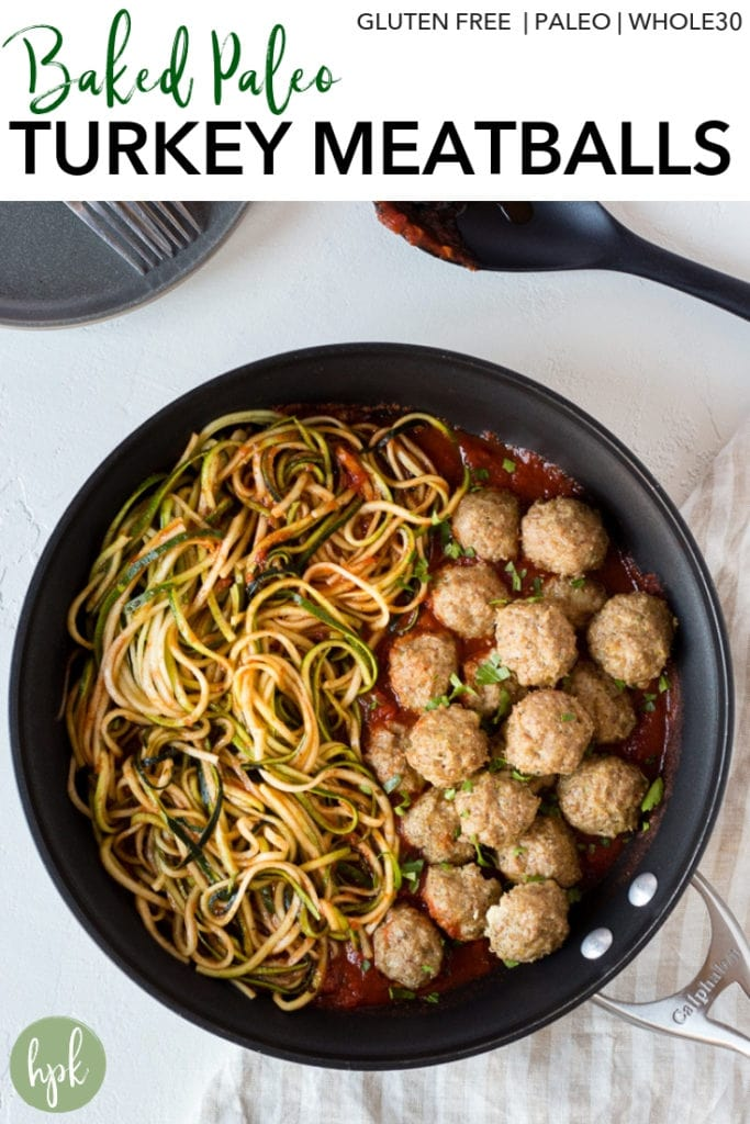 These Baked Paleo Turkey Meatballs are an easy weeknight meal option. They're gluten free and whole 30 compliant, using almond flour in place of bread crumbs. Eat them on their own as appetizers or pair with marinara sauce and zoodles for a healthy dinner! #paleo #turkeymeatballs