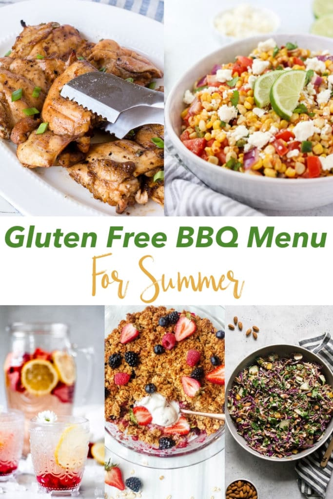 These gluten free summer bbq recipe ideas are great for a party or a weeknight dinner. With sides, dessert, and a main chicken dish, you've got everything covered! Great for a holiday weekend too. #glutenfree #bbq #picnic #memorialday #fourthofjuly #laborday
