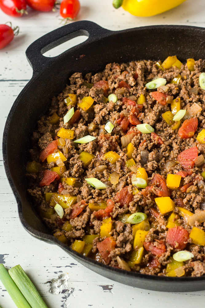 mexican ground beef in a skillet
