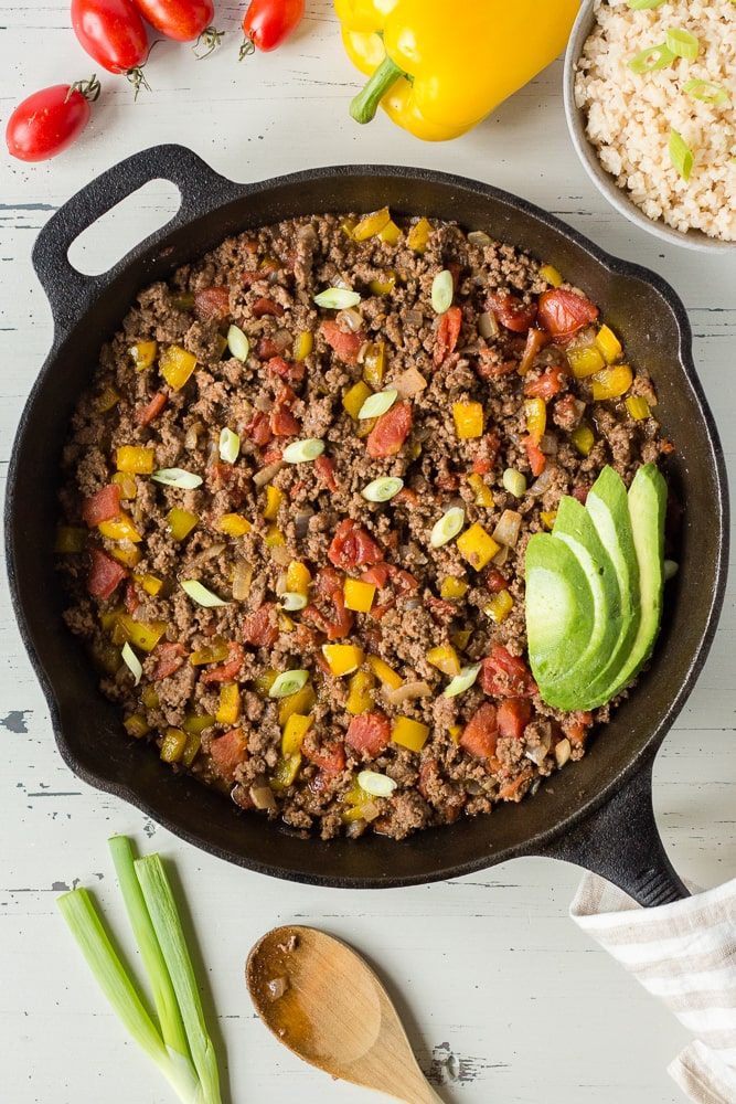 top down view of mexican ground beef in a skillet