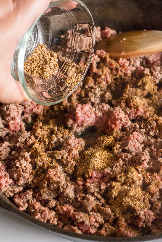 spice mix being put into ground beef