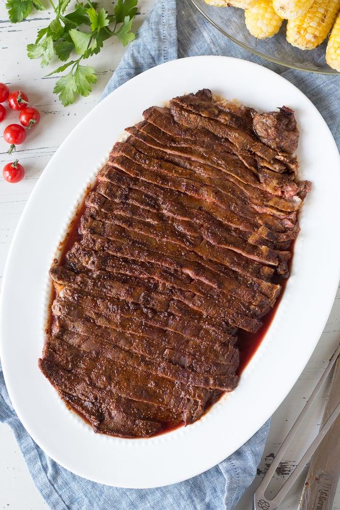 cut flank steak on a white dish