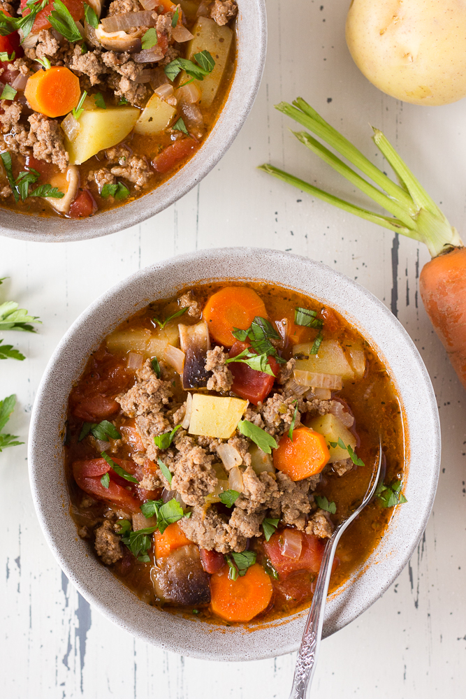 ground beef soup in a bowl