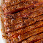 zoom in of cut flank steak