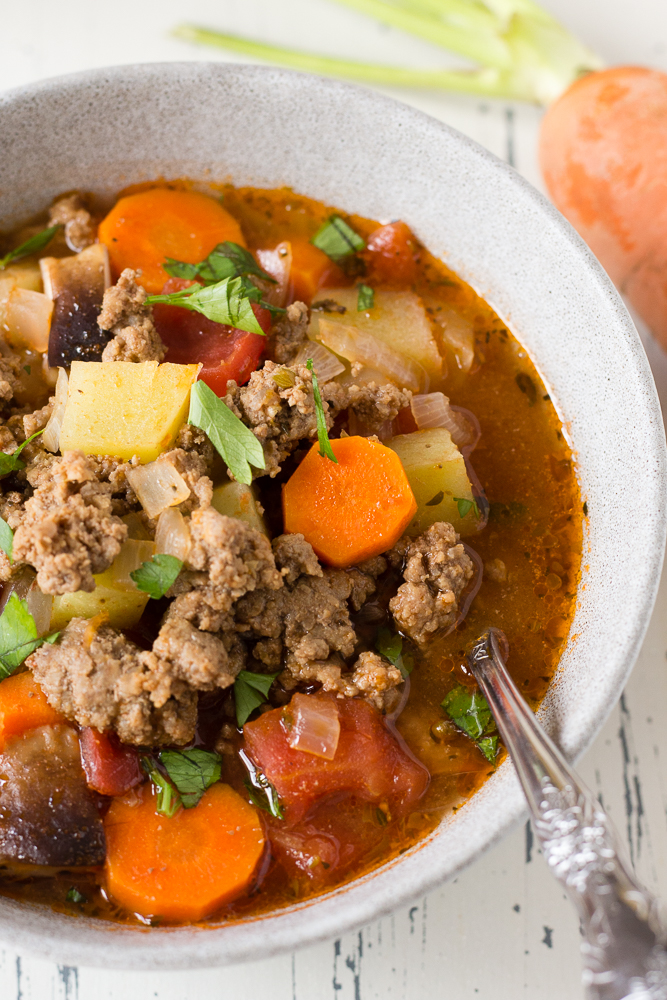close up of ground beef soup