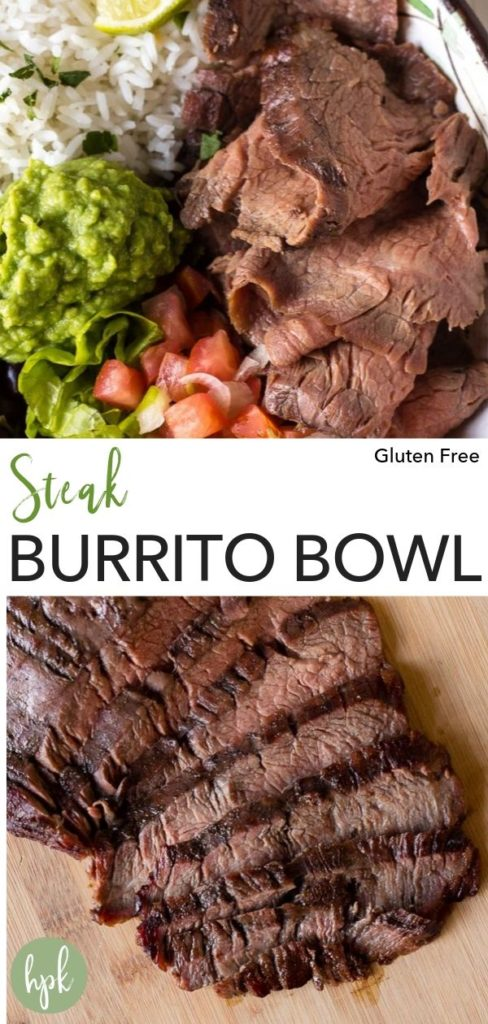pin for steak burrito bowl