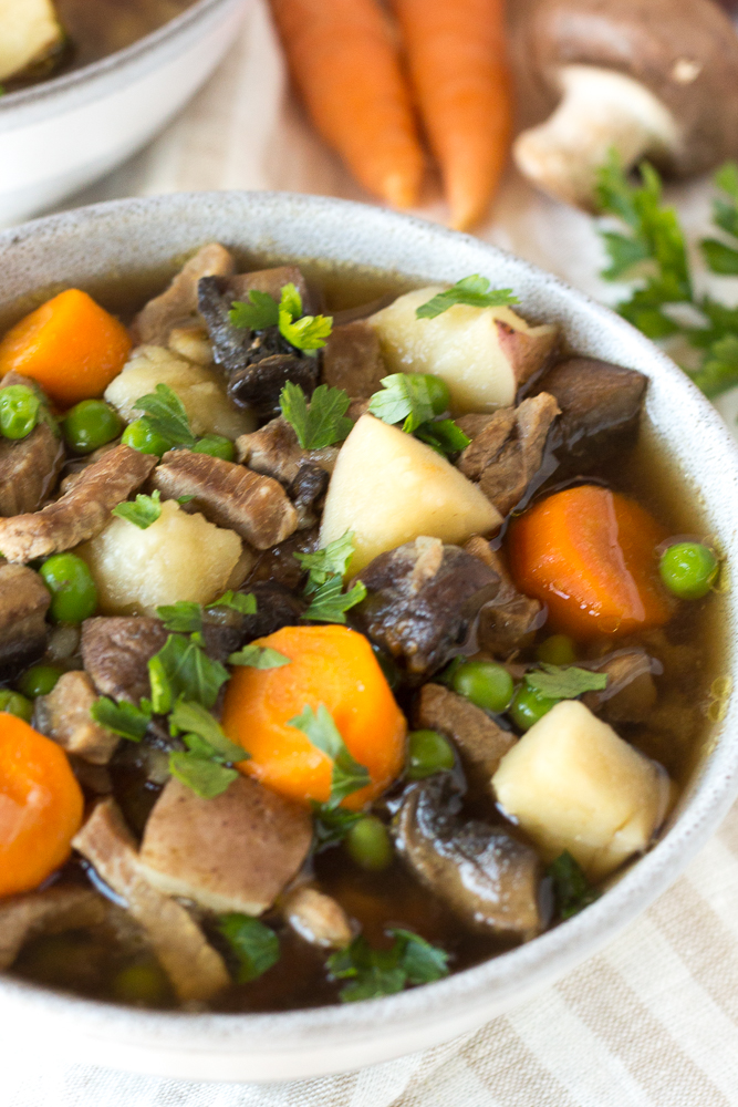 close up of instant pot beef stew in a bowl