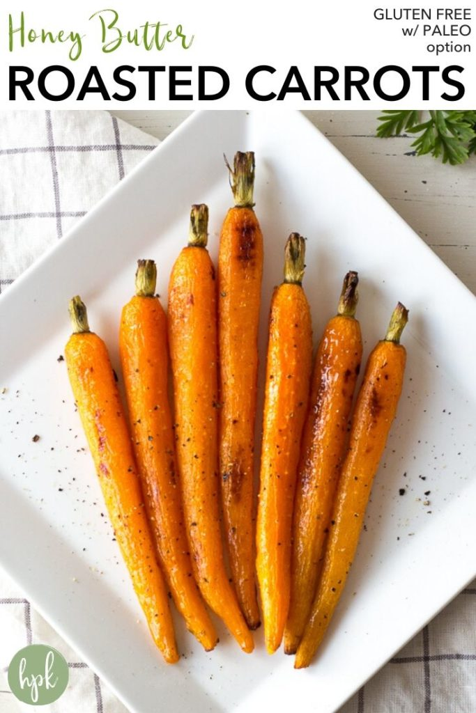 pin for roasted carrots with honey butter glaze