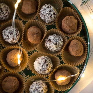 christmas tin with boozy chocolate truffles