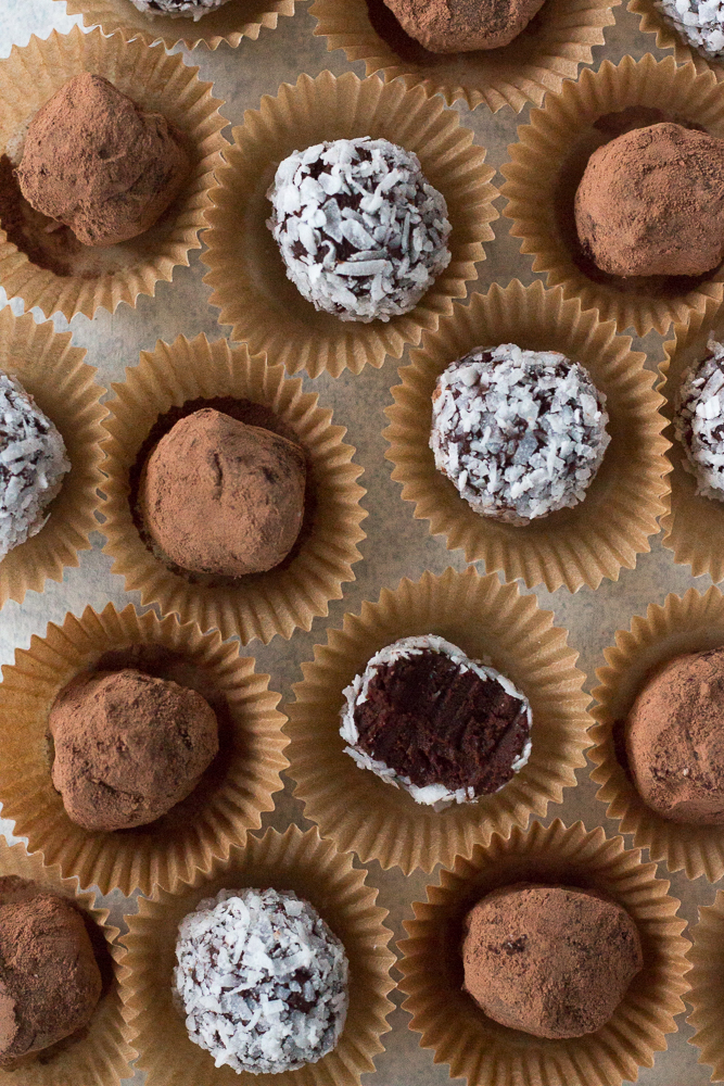 top down shot of truffles in paper containers