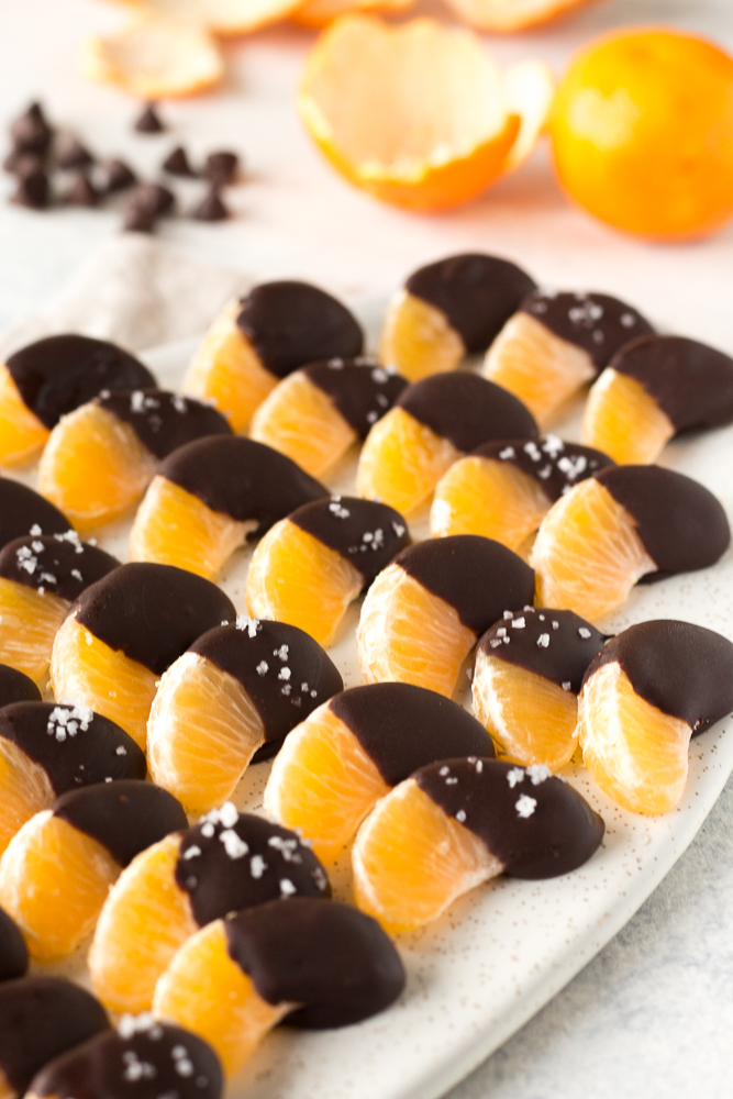 rows of chocolate covered orange slices