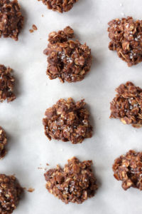 no bake chocolate oatmeal peanut butter cookies on parchment