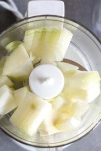 cut onions in small food processor