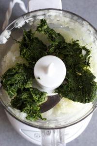 spinach and onions in small food processor