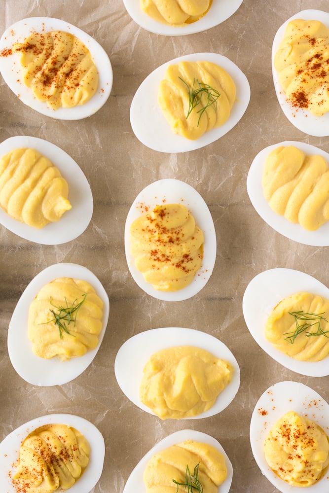 top down shot of instant pot deviled eggs