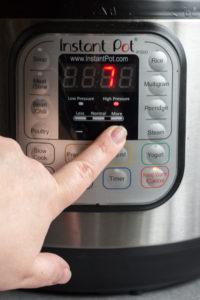 pressing plus button on instant pot