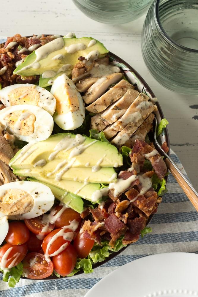 top down shot of half a chicken cobb salad