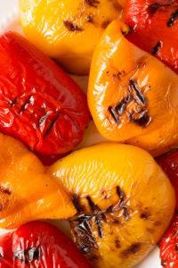 close up of grilled bell peppers on a plate