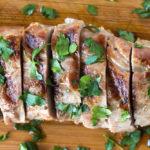top down shot of slices of grilled pork tenderloin