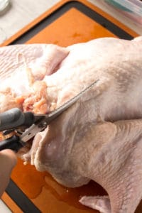 cutting one side of the backbone out of a turkey with poultry shears
