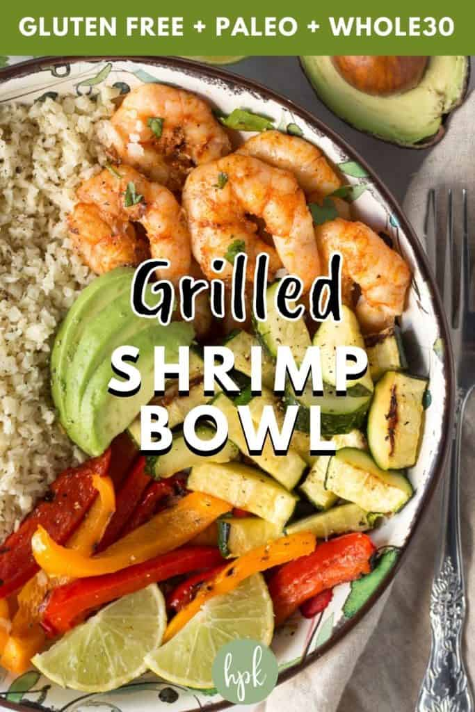 pin for grilled shrimp bowl