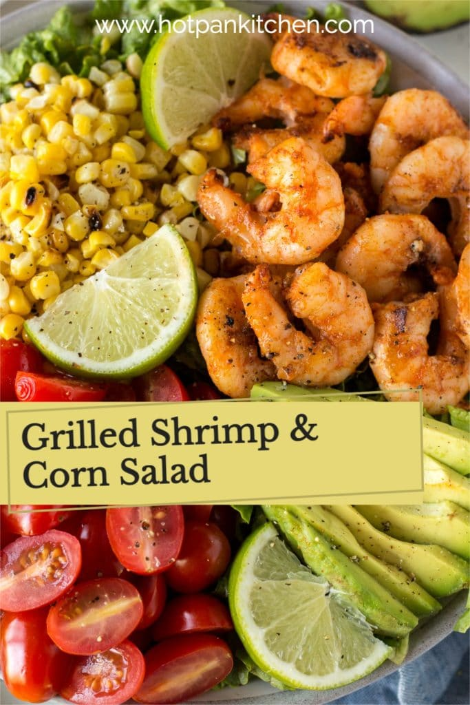pin for grilled shrimp and corn salad