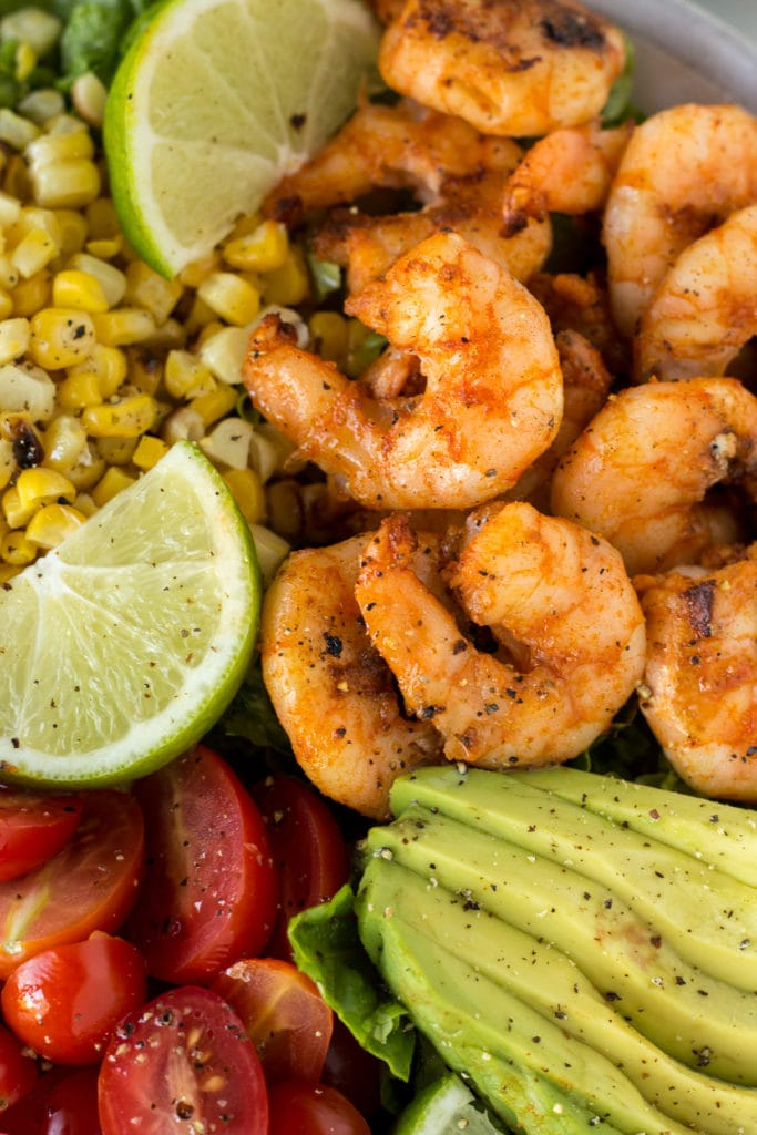 close up of grilled shrimp and corn salad