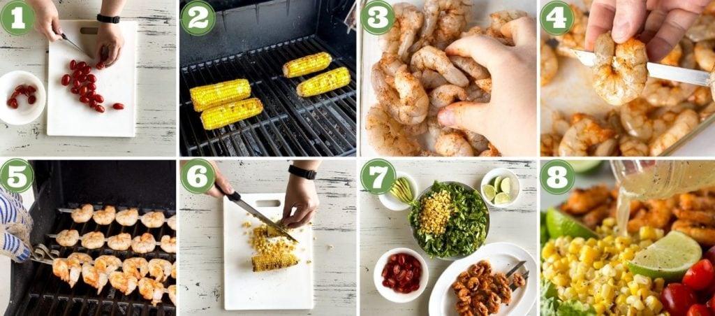grilled shrimp and corn salad process shot collage