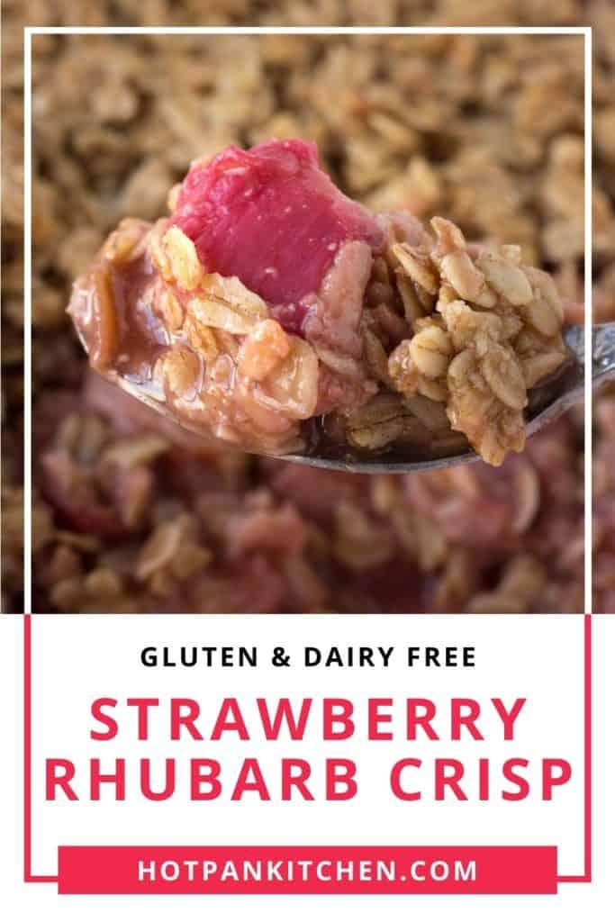 pin for gluten free strawberry rhubarb crisp