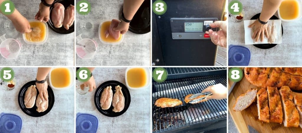 eight process shot collage of how to smoke chicken breasts