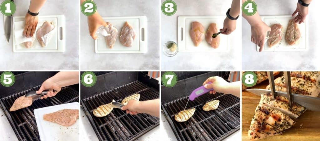 collage of how to make greek grilled chicken